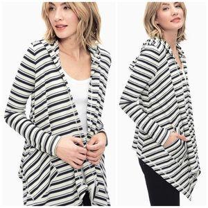 Splendid Anchorage Striped Hooded Open Cardigan
